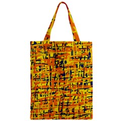 Yellow, orange and blue pattern Zipper Classic Tote Bag