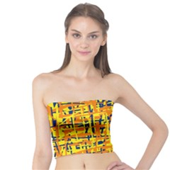 Yellow, orange and blue pattern Tube Top