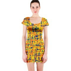 Yellow, orange and blue pattern Short Sleeve Bodycon Dress