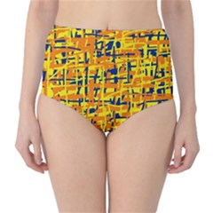 Yellow, orange and blue pattern High-Waist Bikini Bottoms
