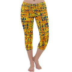 Yellow, orange and blue pattern Capri Yoga Leggings
