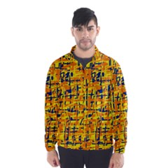 Yellow, orange and blue pattern Wind Breaker (Men)