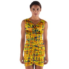 Yellow, orange and blue pattern Wrap Front Bodycon Dress