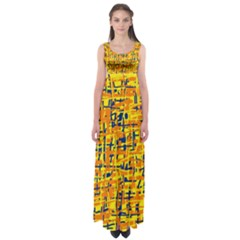 Yellow, orange and blue pattern Empire Waist Maxi Dress