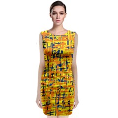 Yellow, orange and blue pattern Classic Sleeveless Midi Dress