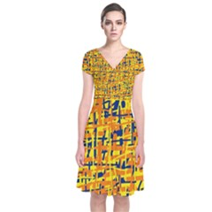 Yellow, orange and blue pattern Short Sleeve Front Wrap Dress