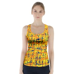 Yellow, orange and blue pattern Racer Back Sports Top