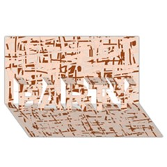 Brown elegant pattern PARTY 3D Greeting Card (8x4)