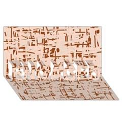 Brown elegant pattern ENGAGED 3D Greeting Card (8x4)