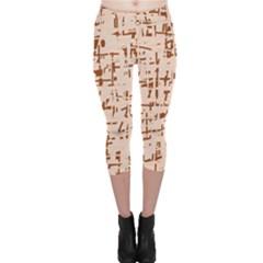 Brown elegant pattern Capri Leggings