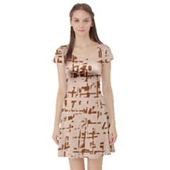 Brown elegant pattern Short Sleeve Skater Dress