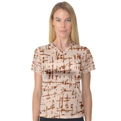 Brown elegant pattern Women s V-Neck Sport Mesh Tee