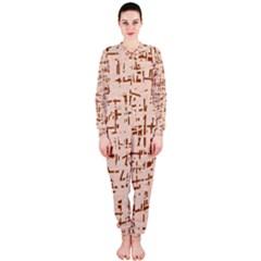 Brown elegant pattern OnePiece Jumpsuit (Ladies)