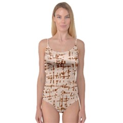 Brown elegant pattern Camisole Leotard