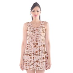 Brown elegant pattern Scoop Neck Skater Dress