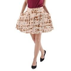 Brown elegant pattern A-Line Pocket Skirt