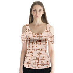 Brown elegant pattern Butterfly Sleeve Cutout Tee