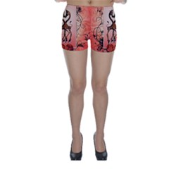 Cute Giraffe In Love With Heart And Floral Elements Skinny Shorts