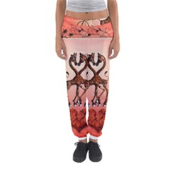 Cute Giraffe In Love With Heart And Floral Elements Women s Jogger Sweatpants