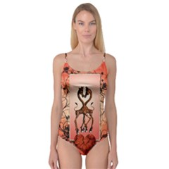 Cute Giraffe In Love With Heart And Floral Elements Camisole Leotard