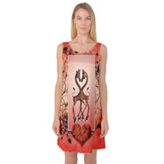 Cute Giraffe In Love With Heart And Floral Elements Sleeveless Satin Nightdress