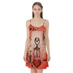 Cute Giraffe In Love With Heart And Floral Elements Satin Night Slip