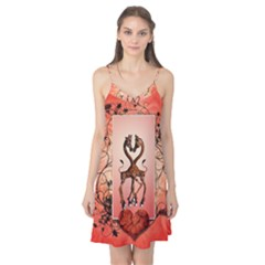 Cute Giraffe In Love With Heart And Floral Elements Camis Nightgown