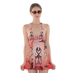 Cute Giraffe In Love With Heart And Floral Elements Halter Swimsuit Dress