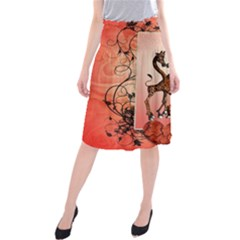 Cute Giraffe In Love With Heart And Floral Elements Midi Beach Skirt