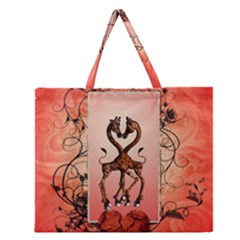 Cute Giraffe In Love With Heart And Floral Elements Zipper Large Tote Bag