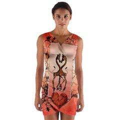 Cute Giraffe In Love With Heart And Floral Elements Wrap Front Bodycon Dress