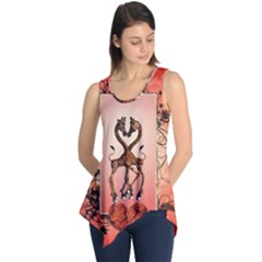 Cute Giraffe In Love With Heart And Floral Elements Sleeveless Tunic