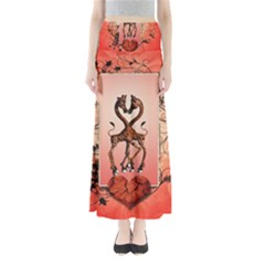 Cute Giraffe In Love With Heart And Floral Elements Maxi Skirts