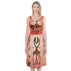 Cute Giraffe In Love With Heart And Floral Elements Midi Sleeveless Dress