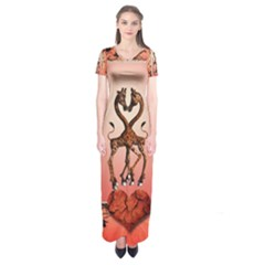 Cute Giraffe In Love With Heart And Floral Elements Short Sleeve Maxi Dress