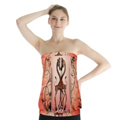 Cute Giraffe In Love With Heart And Floral Elements Strapless Top