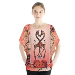 Cute Giraffe In Love With Heart And Floral Elements Batwing Chiffon Blouse