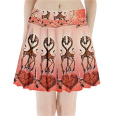 Cute Giraffe In Love With Heart And Floral Elements Pleated Mini Mesh Skirt