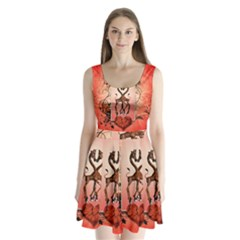 Cute Giraffe In Love With Heart And Floral Elements Split Back Mini Dress