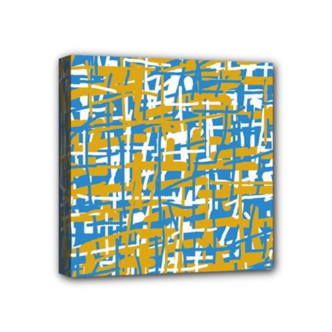 Blue and yellow elegant pattern Mini Canvas 4  x 4