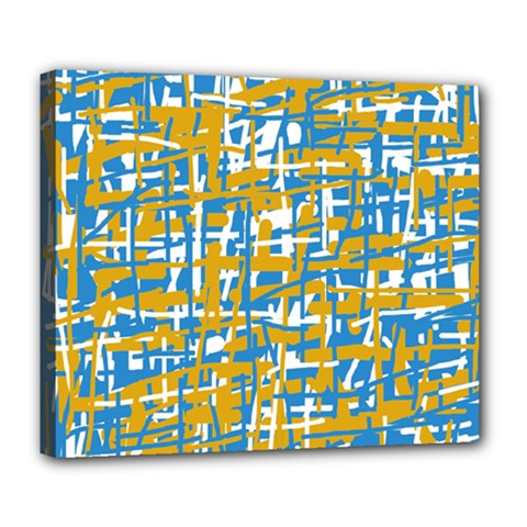 Blue and yellow elegant pattern Deluxe Canvas 24  x 20
