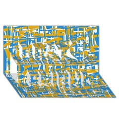 Blue and yellow elegant pattern Best Friends 3D Greeting Card (8x4)