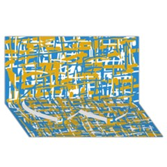 Blue And Yellow Elegant Pattern Twin Heart Bottom 3d Greeting Card (8x4)
