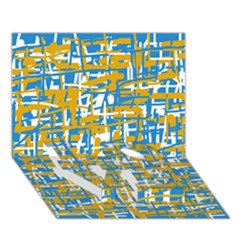 Blue and yellow elegant pattern LOVE Bottom 3D Greeting Card (7x5)