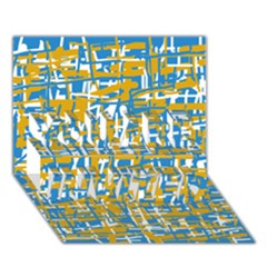 Blue and yellow elegant pattern YOU ARE INVITED 3D Greeting Card (7x5)