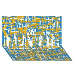 Blue and yellow elegant pattern BEST SIS 3D Greeting Card (8x4)