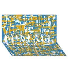 Blue and yellow elegant pattern ENGAGED 3D Greeting Card (8x4)