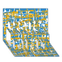 Blue and yellow elegant pattern You Did It 3D Greeting Card (7x5)