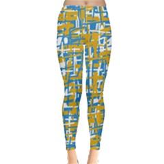 Blue and yellow elegant pattern Leggings
