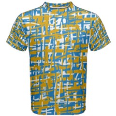 Blue and yellow elegant pattern Men s Cotton Tee